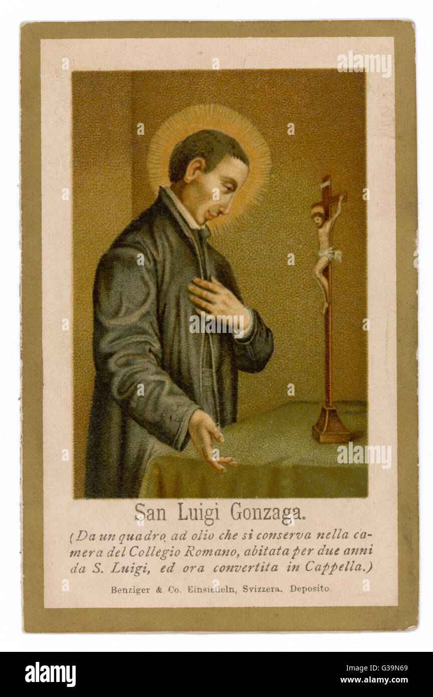 LUIGI GONZAGA Italian Jesuit who died while  caring for plague victims        Date: 1568 - 1591 - Stock Image
