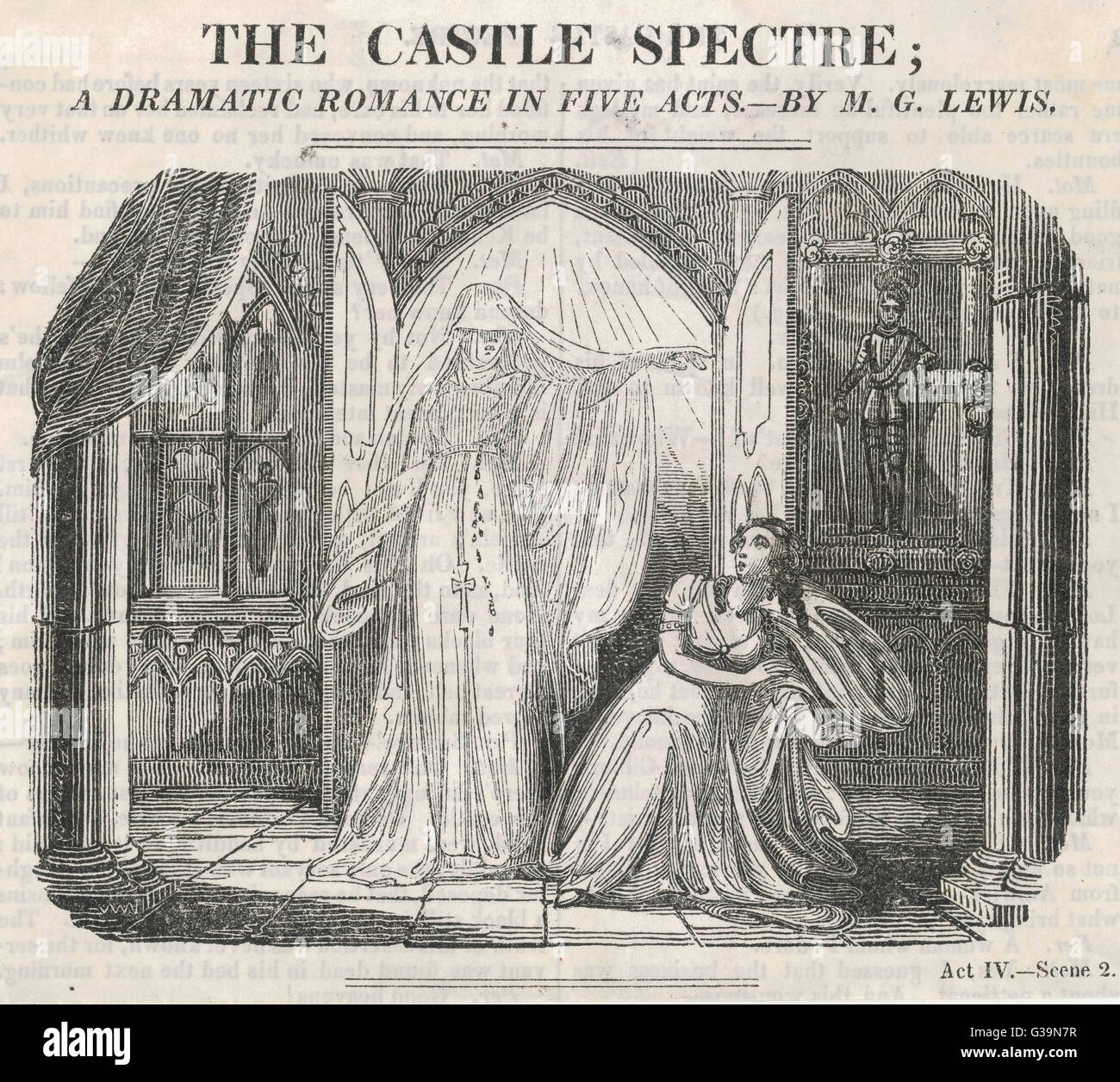 THE CASTLE SPECTRE  A Romantic Drama by M.G.Lewis.  Act IV - Scene 2. A ghostly  apparition appears.     Date: 19th - Stock Image