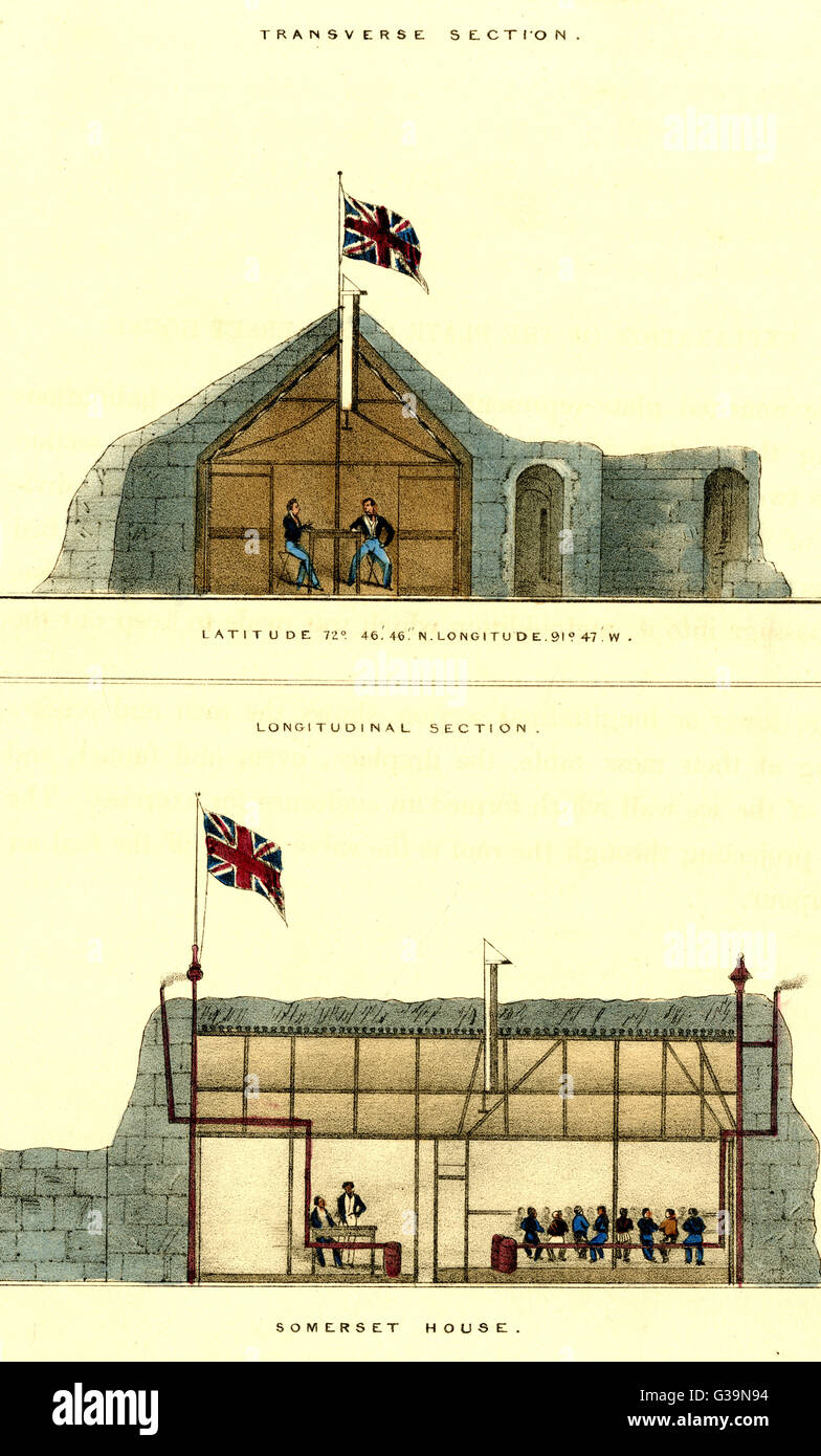 John Ross's arctic expedition:  Transverse section (top) and  Longitudinal section of  Somerset House at Fury - Stock Image