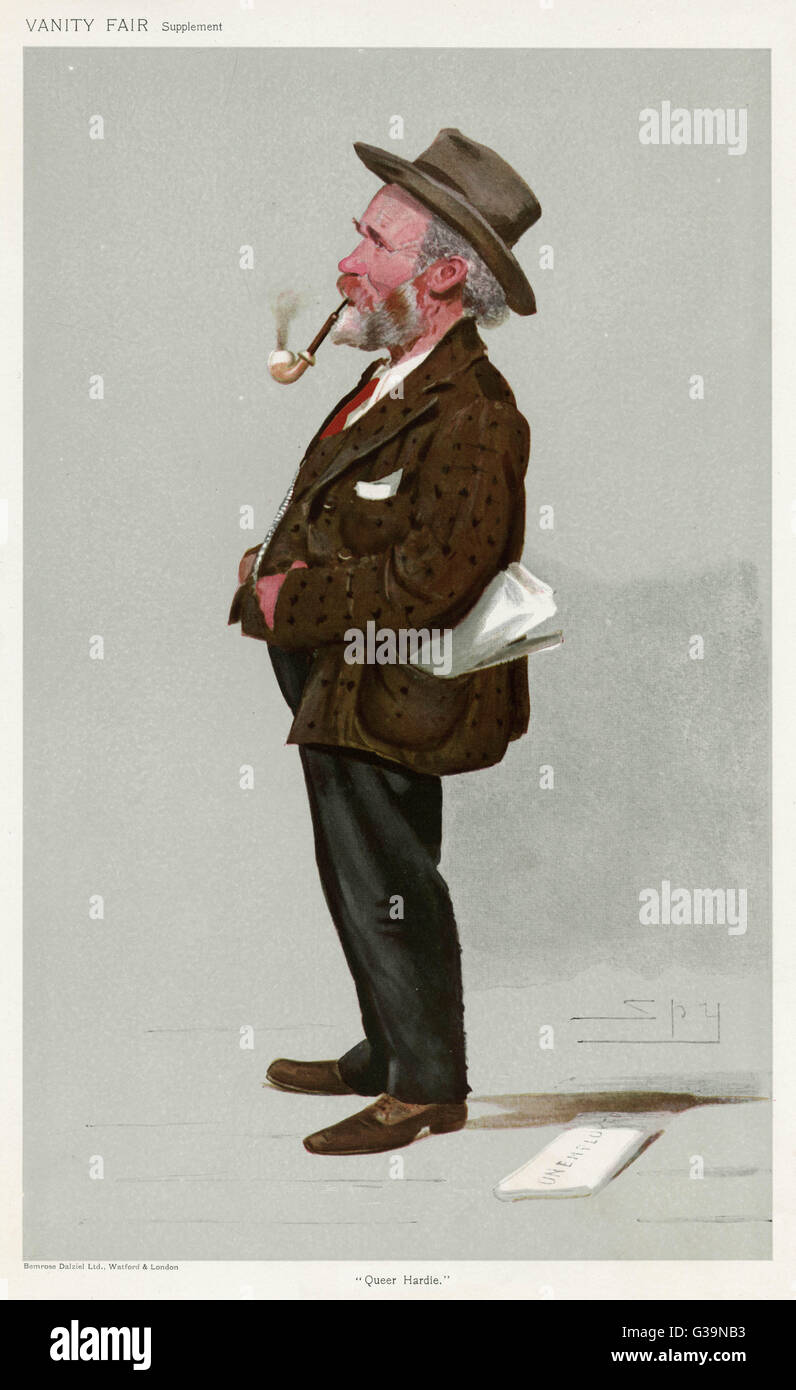 JAMES KEIR HARDIE  British labour leader and politician, looking rather scruffy       Date: 1856 - 1915 - Stock Image