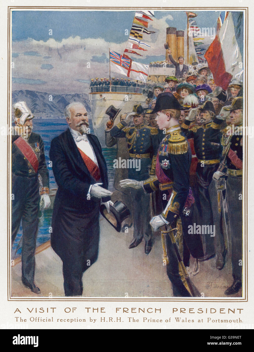 The French President,  Poincare, is officially  received by the Prince of  Wales at Portsmouth       Date: circa - Stock Image
