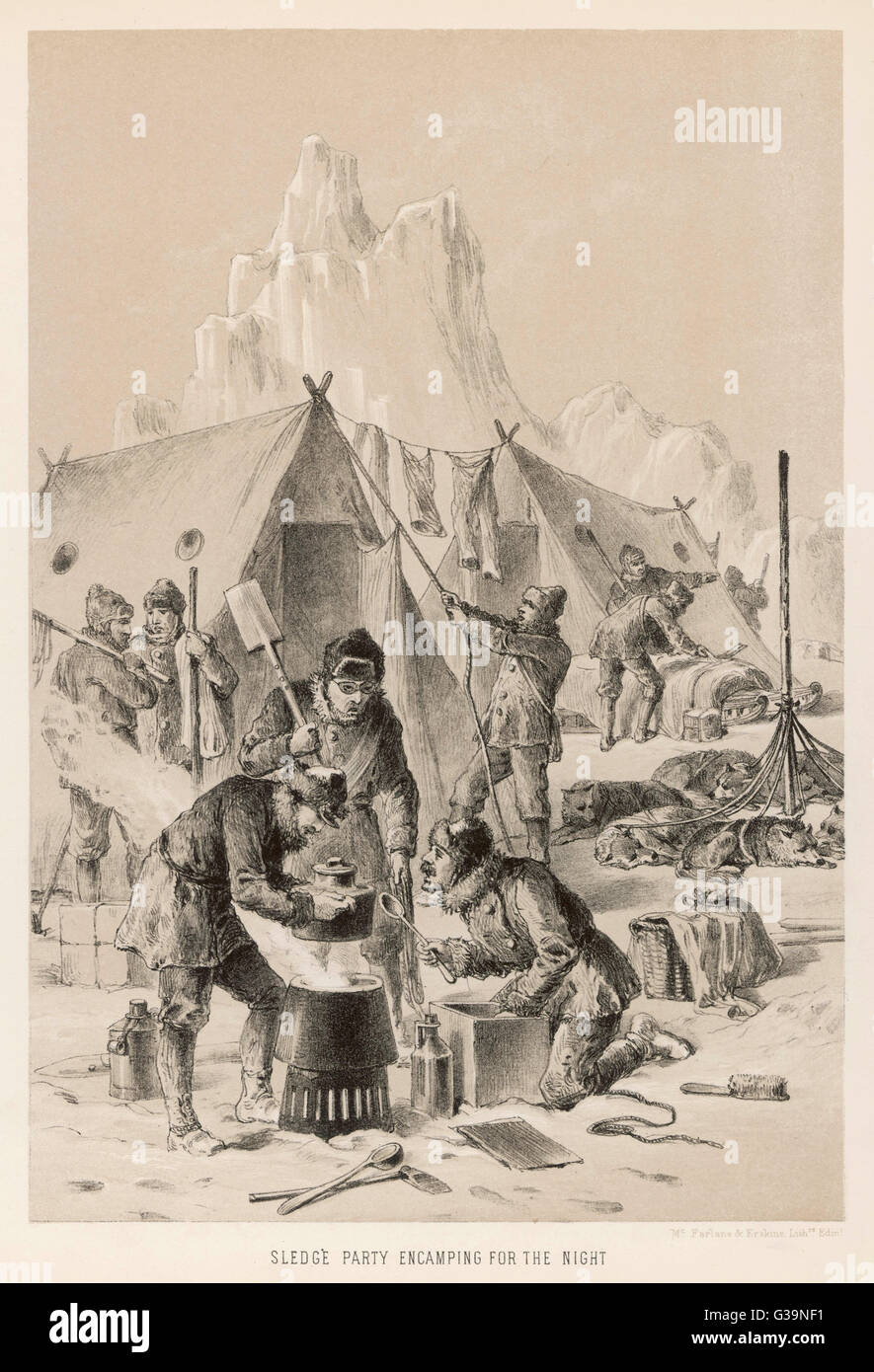 Pullen and Hooper encamping  for the night during their  search for Franklin.        Date: 1849-50 - Stock Image