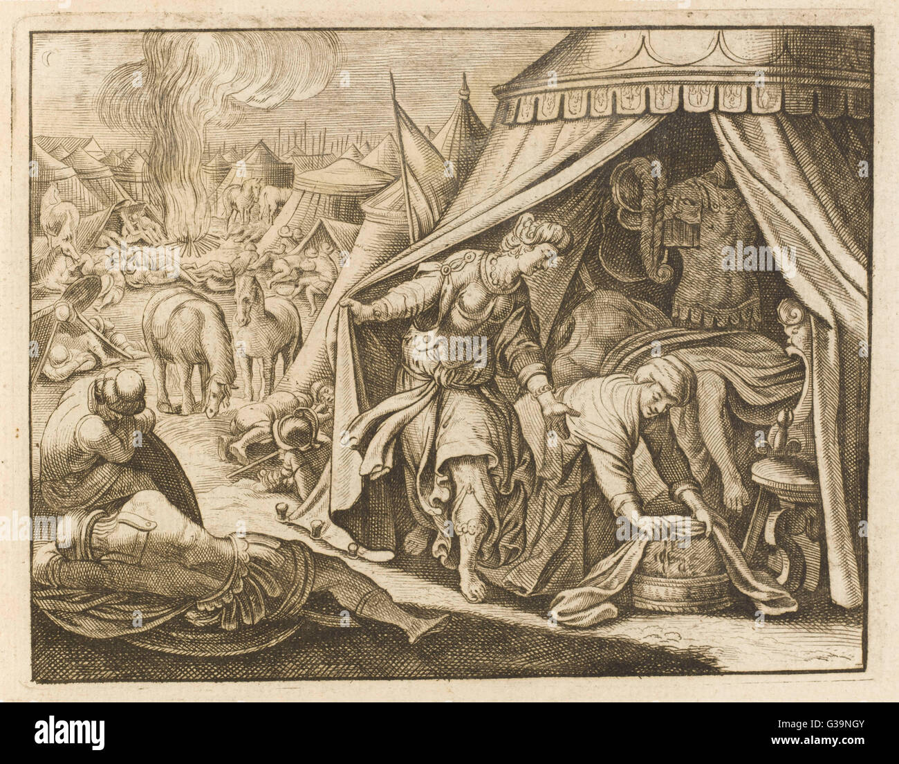 A pious widow of Bethulia, she  saves her people by making her  way to the tent of Holofernes,  who has been sent - Stock Image