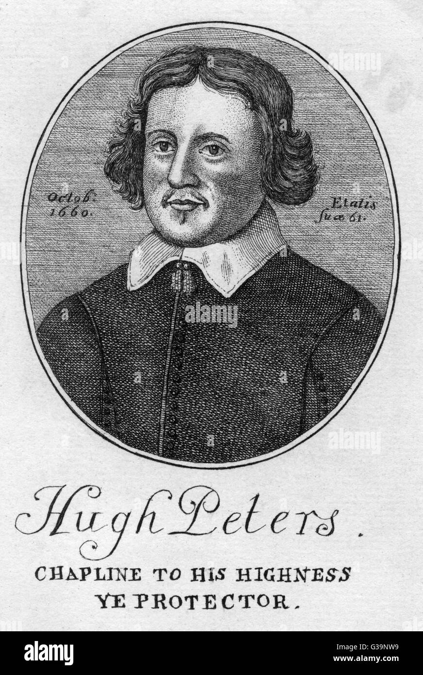 HUGH PETERS  chaplain to Oliver Cromwell,  beheaded as a regicide at the  Restoration      Date: 1598 - 1660 - Stock Image