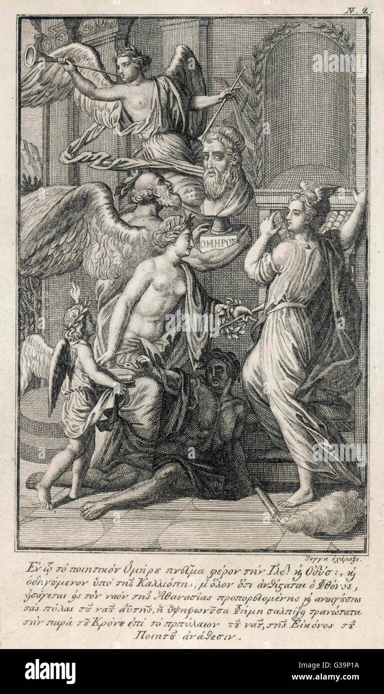 HOMER Blind Greek poet:  angels celebrate his Iliad and Odyssey       Date: 9th - 8th Century BC - Stock Image