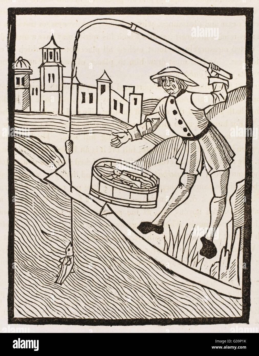 A fifteenth century angler  makes a catch - illustration in Wynkyn de  Worde's 'Treatyse of Fysshynge  with - Stock Image