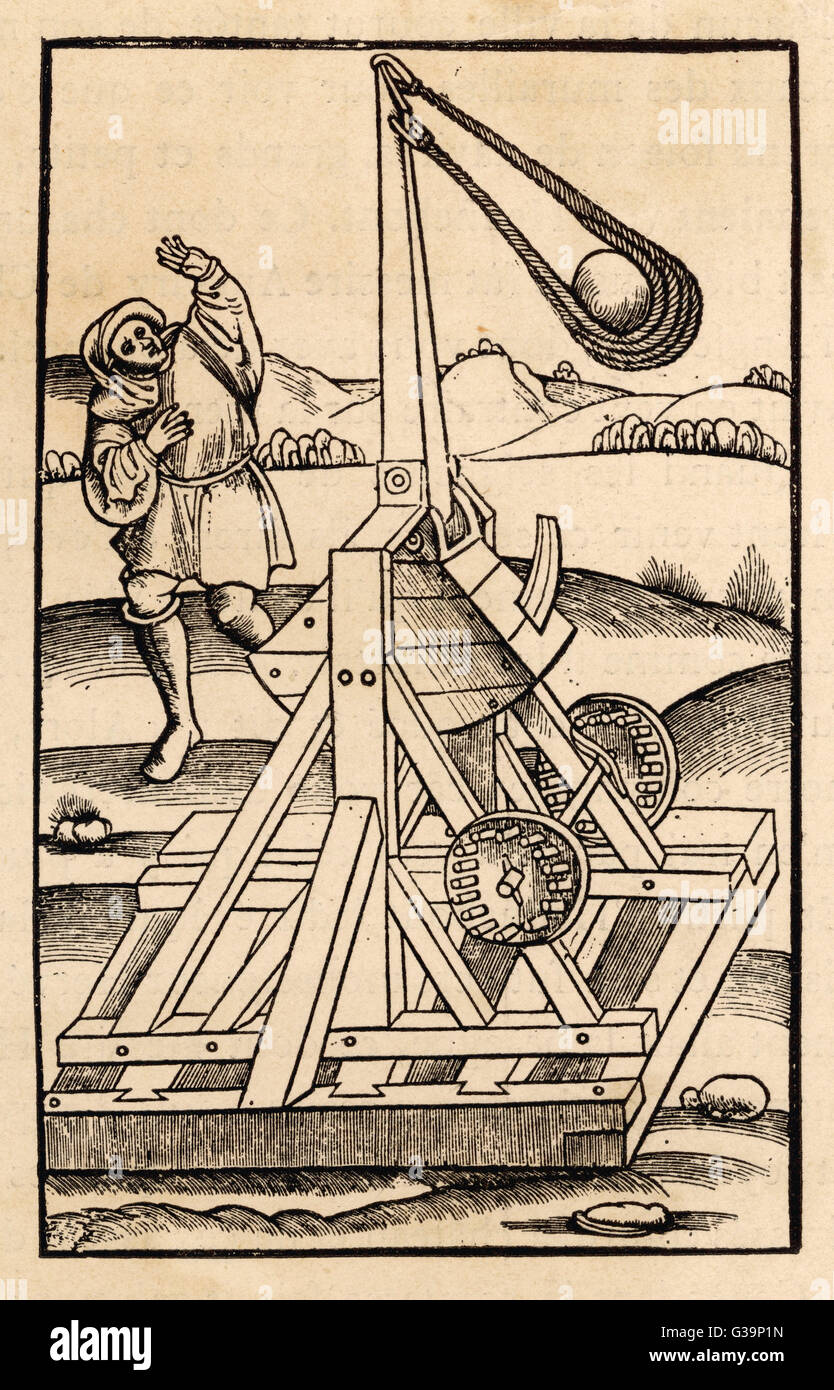 A rather lethal looking  catapult with a huge sling  on a wooden base.        Date: 15th Century - Stock Image