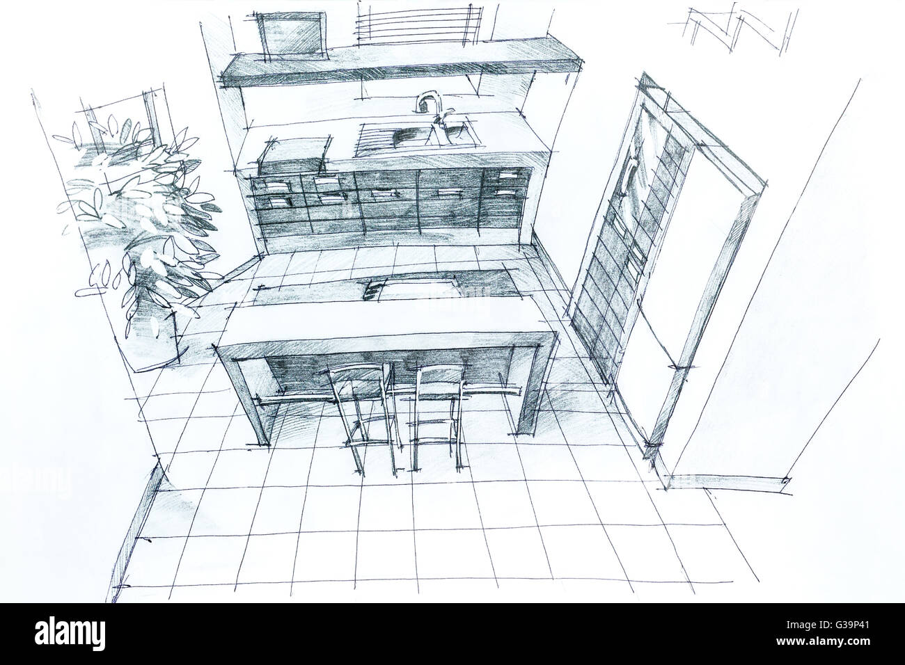 Graphical sketch by pencil of an interior kitchen. Architectural ...
