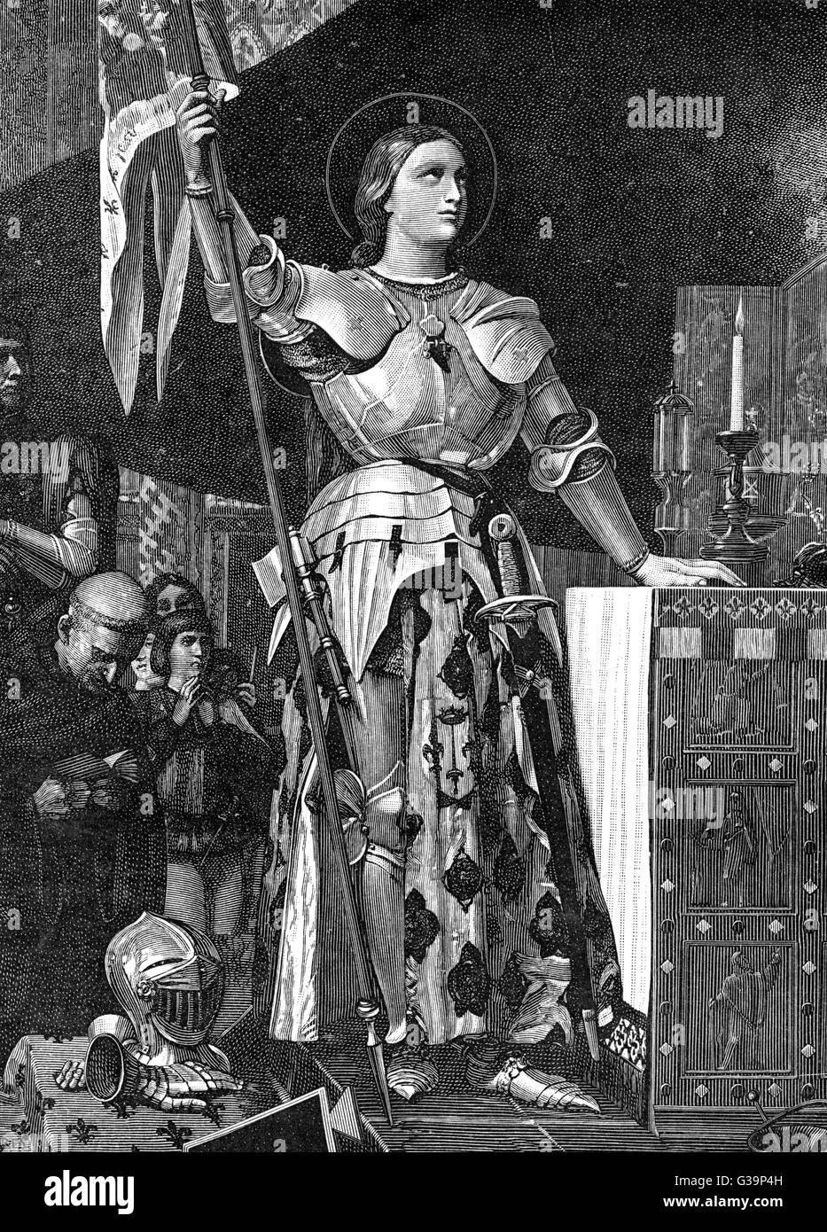 JOAN OF ARC  French heroine in armour  and halo, at the altar  of a church      Date: 1412? - 1431 - Stock Image