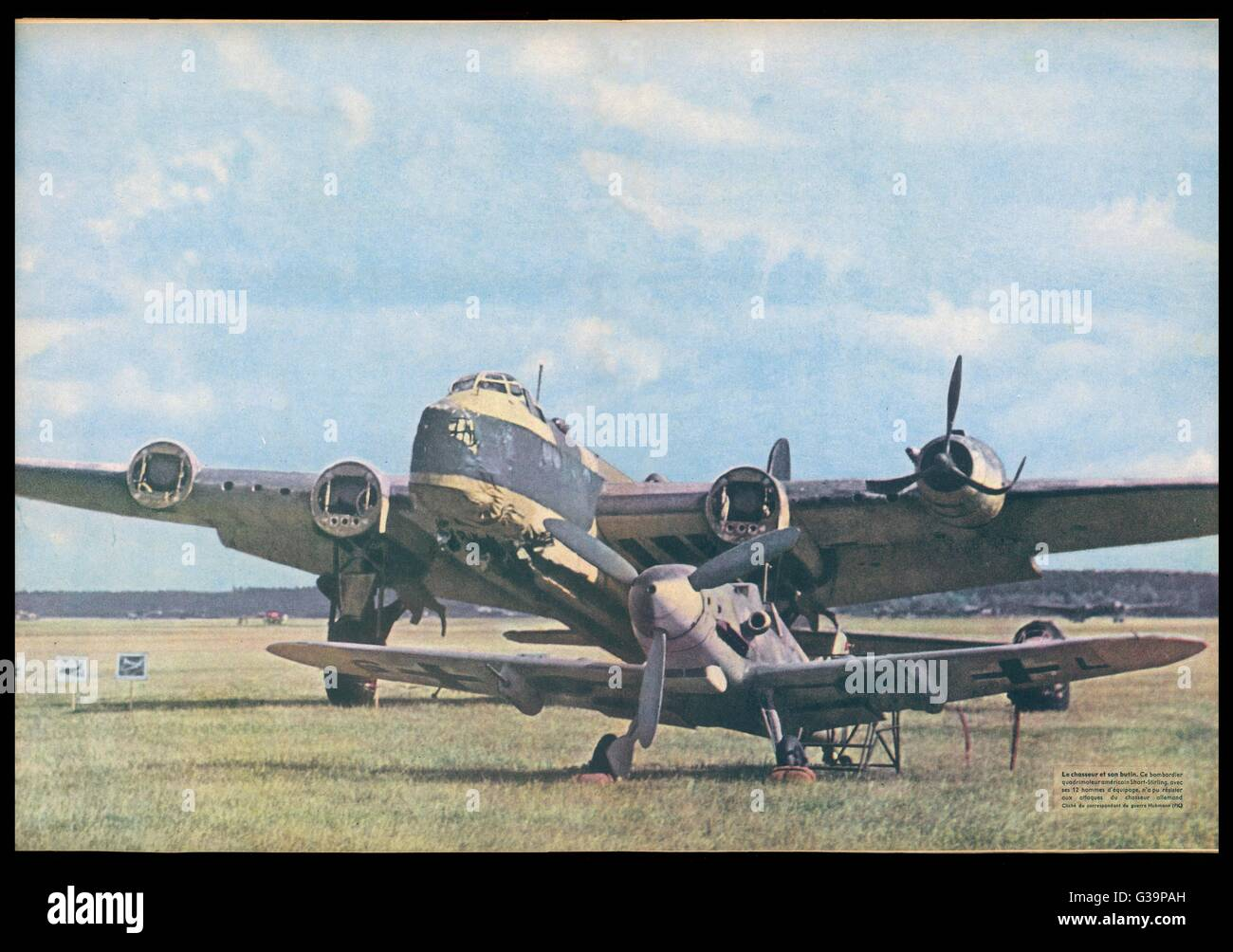 A Messerschmitt 109 poses  before the British Short  Stirling bomber it brought  down - it has lost three of  its - Stock Image