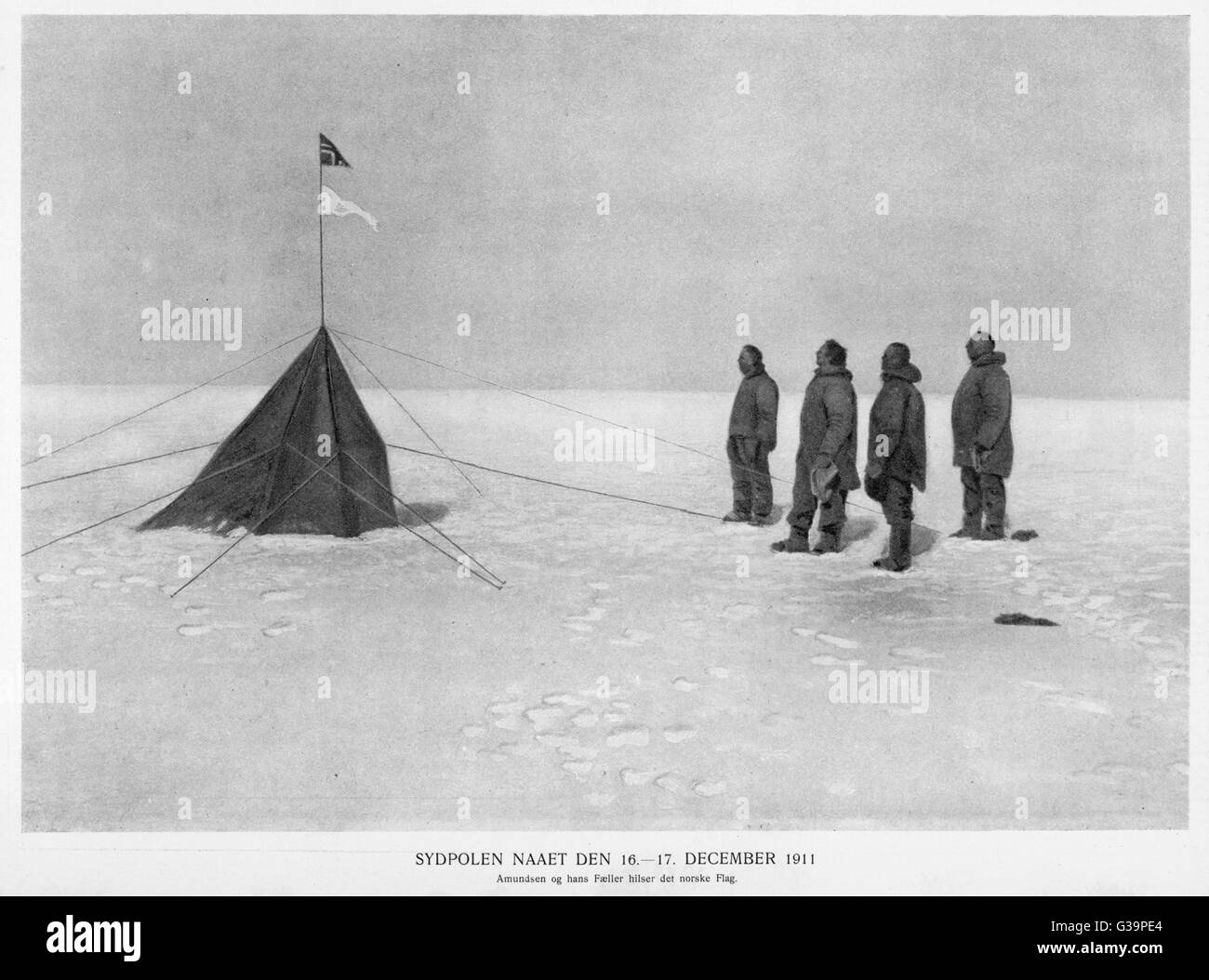 Roald Amundsen, the first to  reach the South Pole, did so  on 14 December 1911 and  returned home safely.  Raising - Stock Image