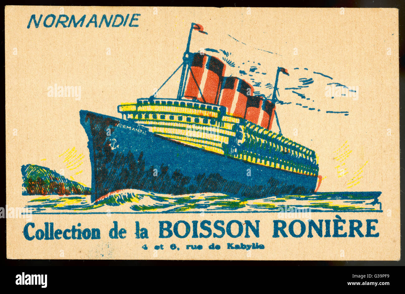 A typical publicity item  associating the company with  the newest glory of the French  merchant fleet       Date: - Stock Image