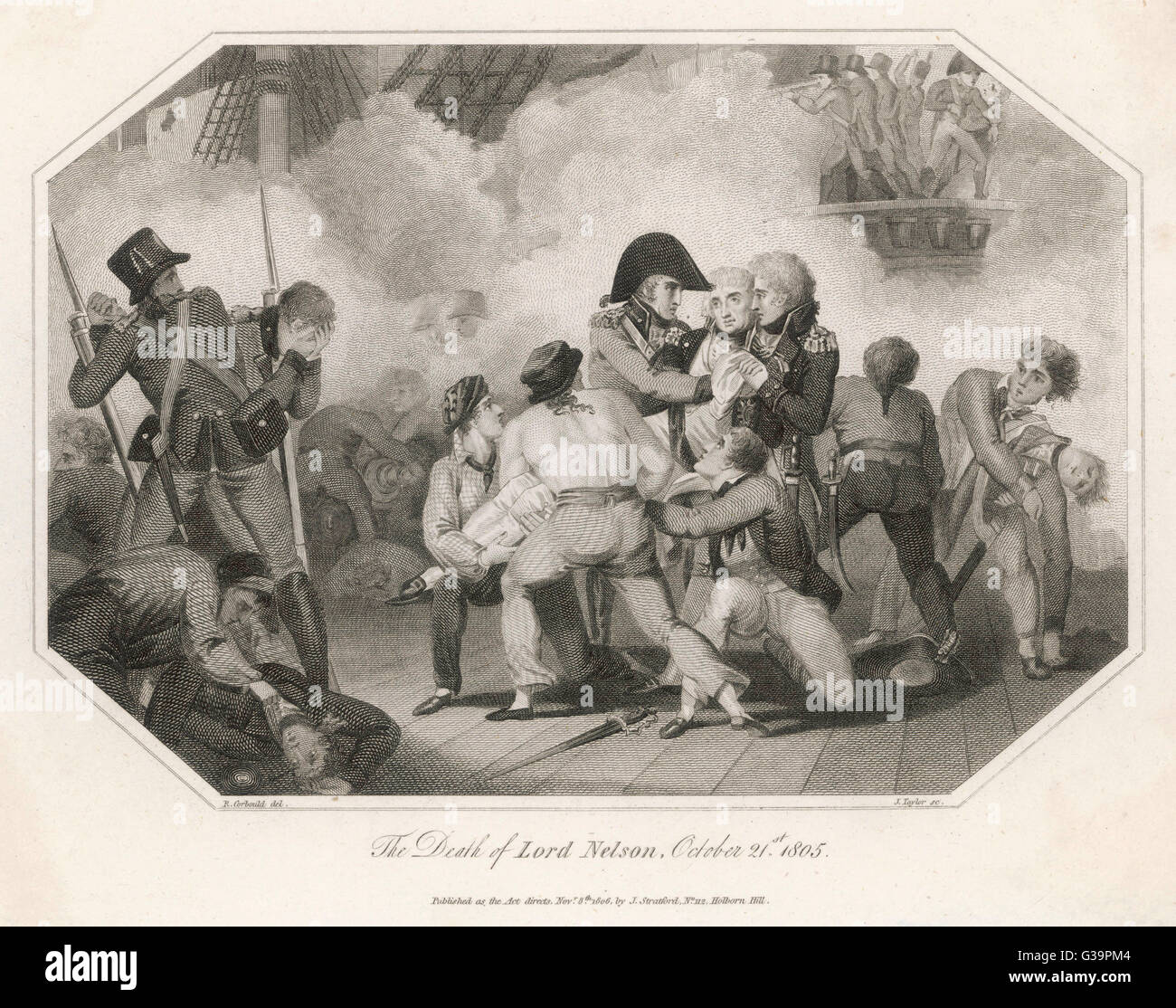 DEATH OF NELSON  Nelson is fatally wounded. (lozenge shaped image)       Date: 21 October 1805 - Stock Image