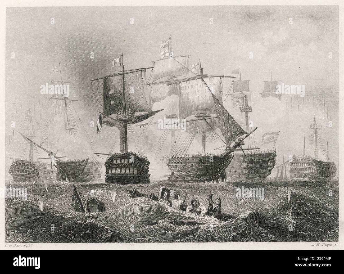 The battle rages          Date: 21 October 1805 - Stock Image