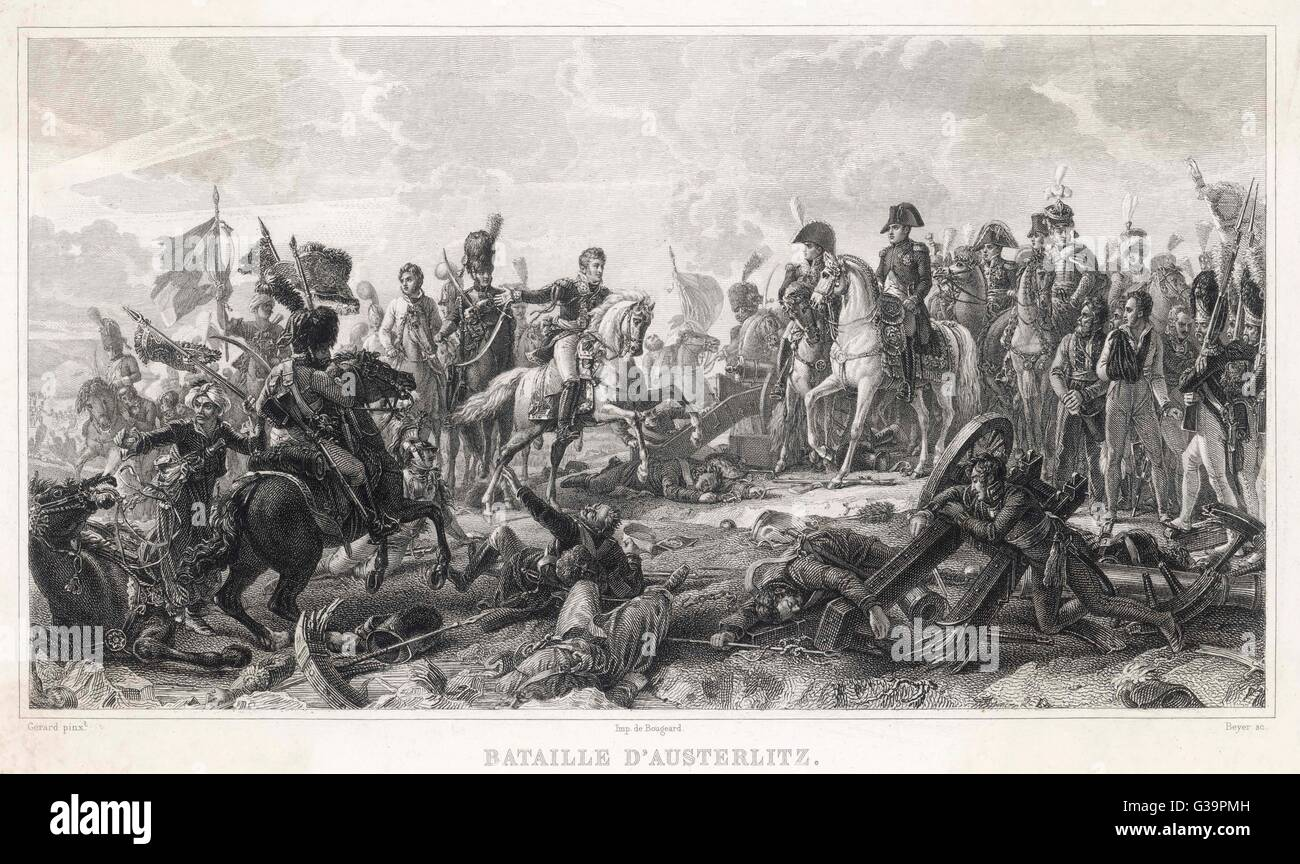 AUSTERLITZ                     Allied army of Russians and  Austrians are defeated by the  French under Napoleon - Stock Image