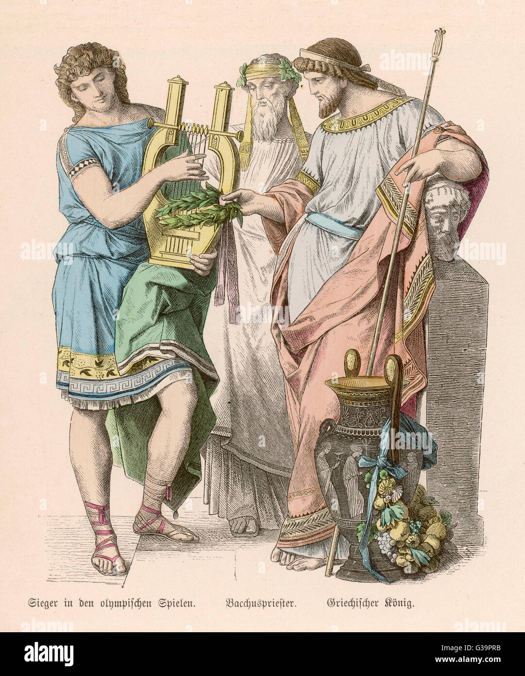 An Olympic hero with the King  and the Priest of Dionysos.        Date: BC - Stock Image