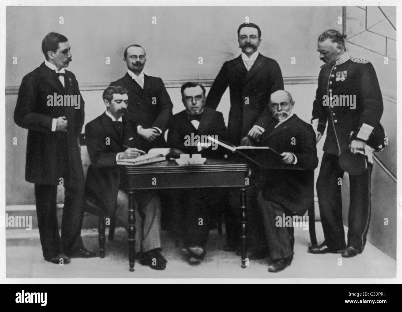 1896 Olympic Committee: Baron Pierre de Coubertin is second from the left        Date: 1896 - Stock Image