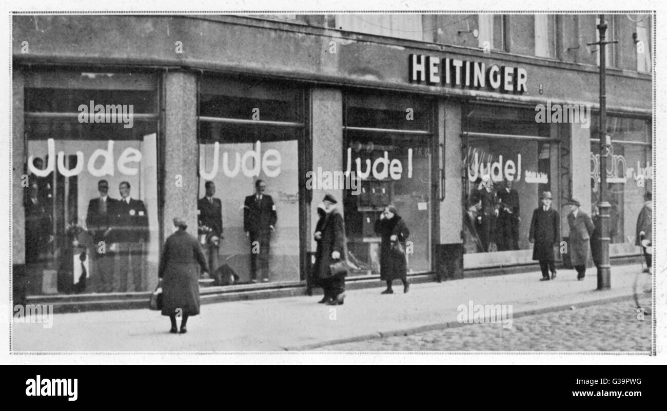 A Jewish shop in Berlin  defaced as part of the Nazi campaign of boycotting Jewish  business.       Date: 1st April - Stock Image