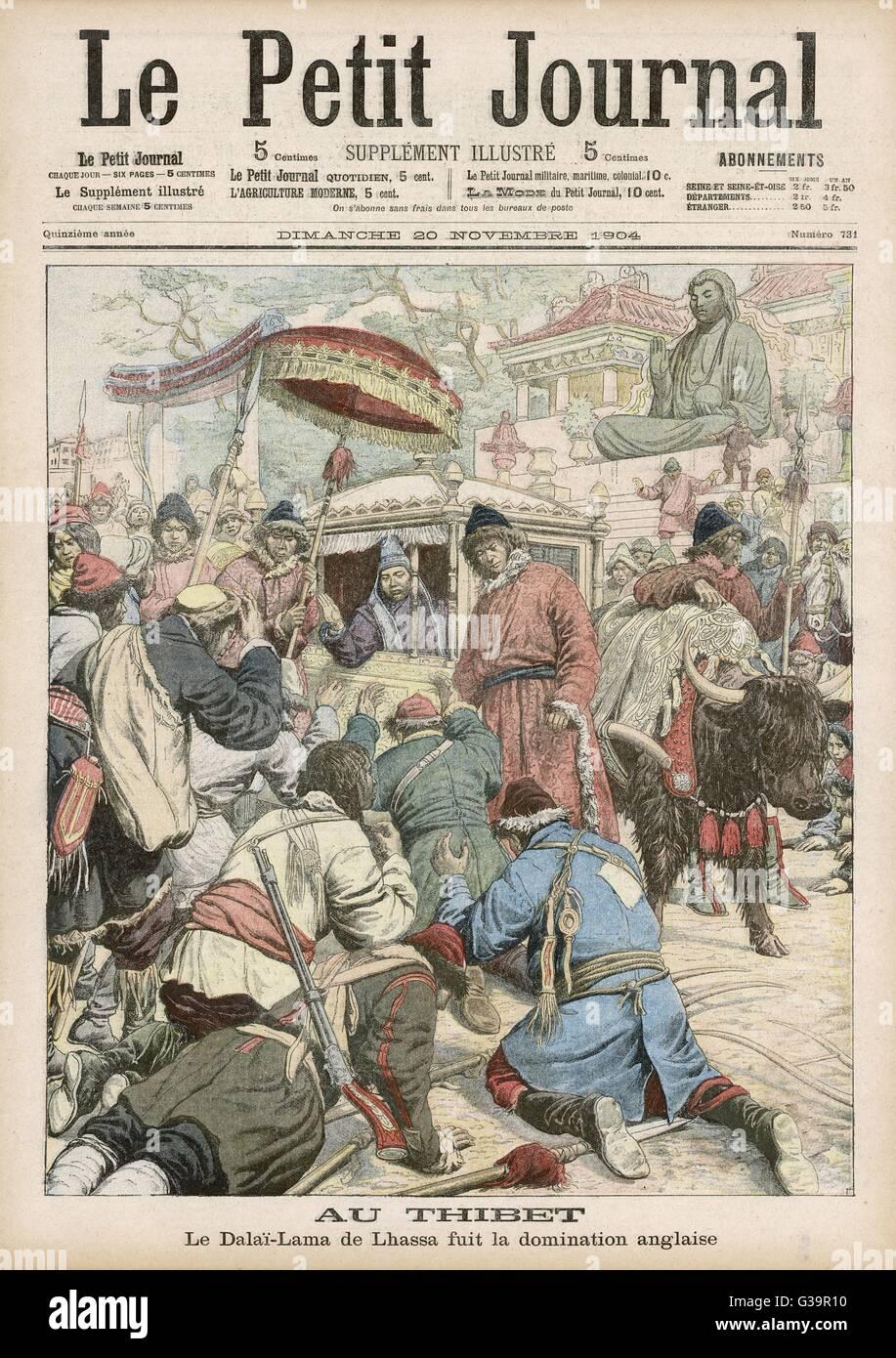 The Dalai Lama flees British  occupation in Tibet.         Date: 1904 Stock Photo