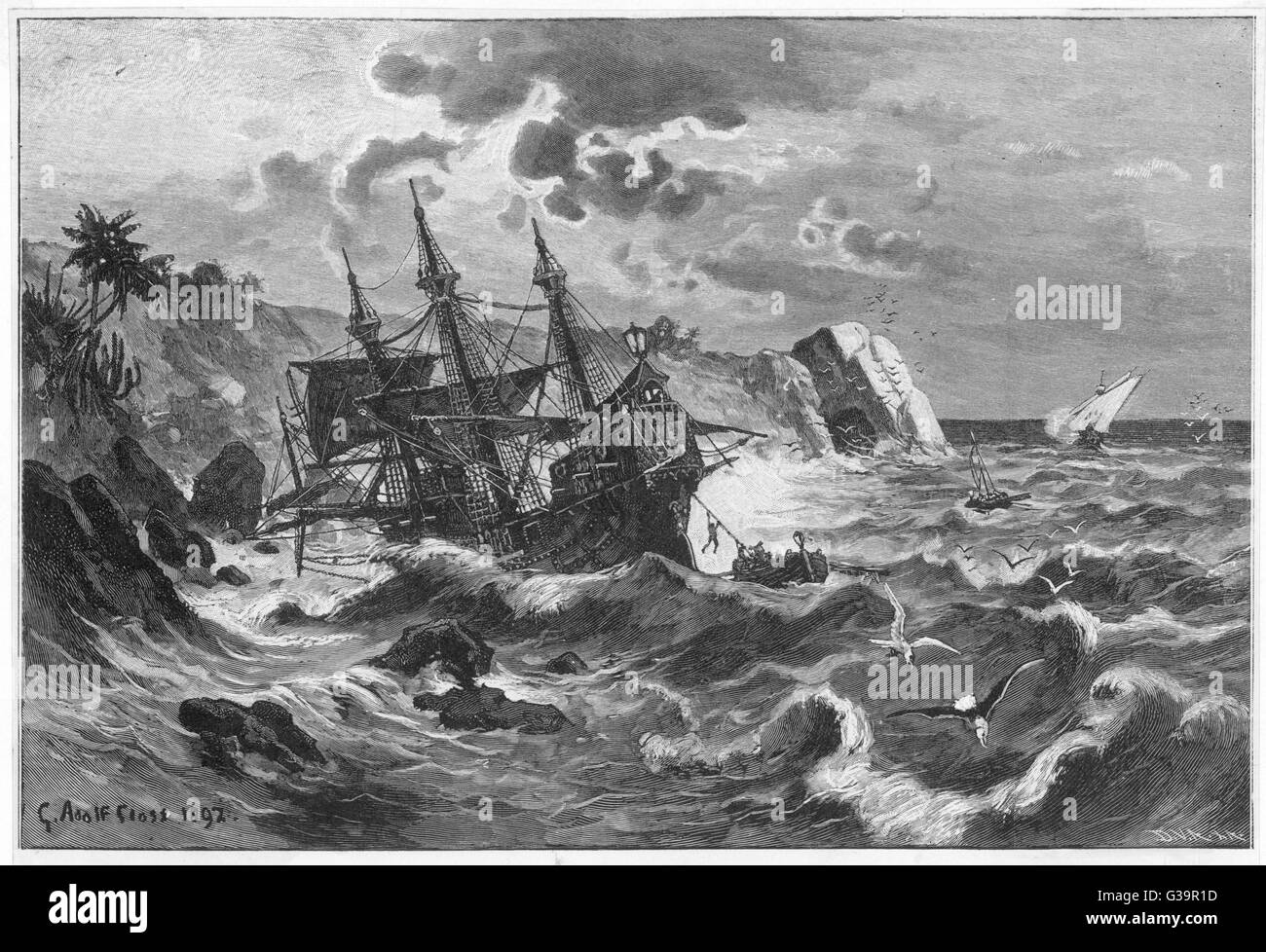 The wreck of the caravel  'Santa Maria', Columbus's  ship, on the coast of  Hispaniola, also known as - Stock Image
