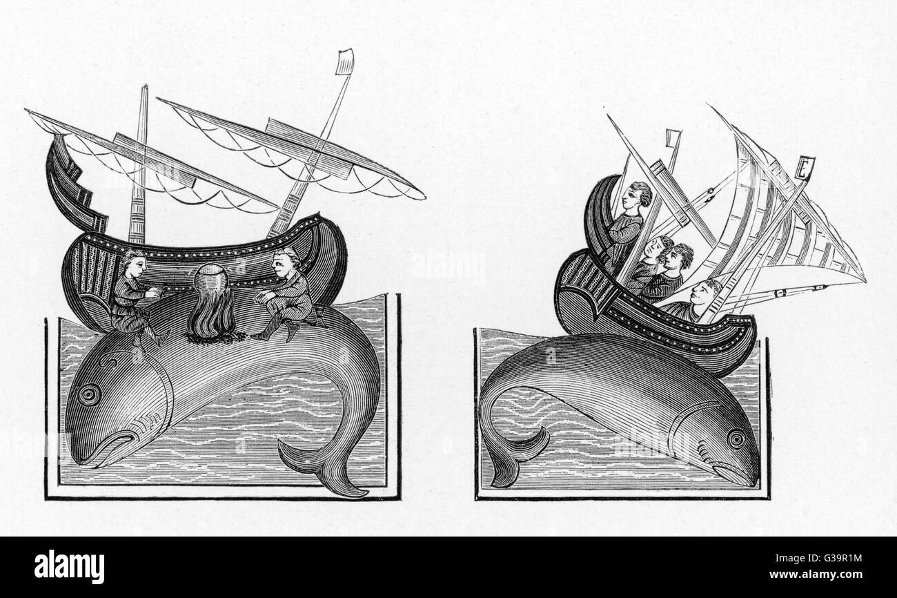 Medieval whaling legends          Date: 10th century - Stock Image