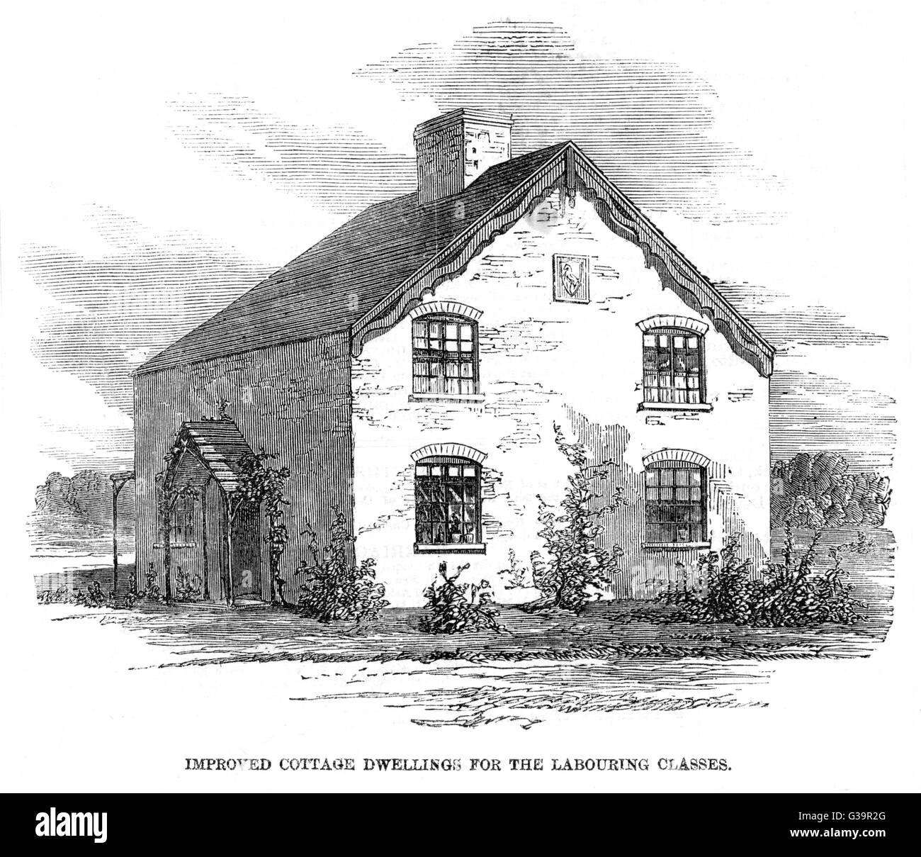 Improved cottage dwelling for  the labouring classes; the  illustration shows dwellings  for two families       - Stock Image