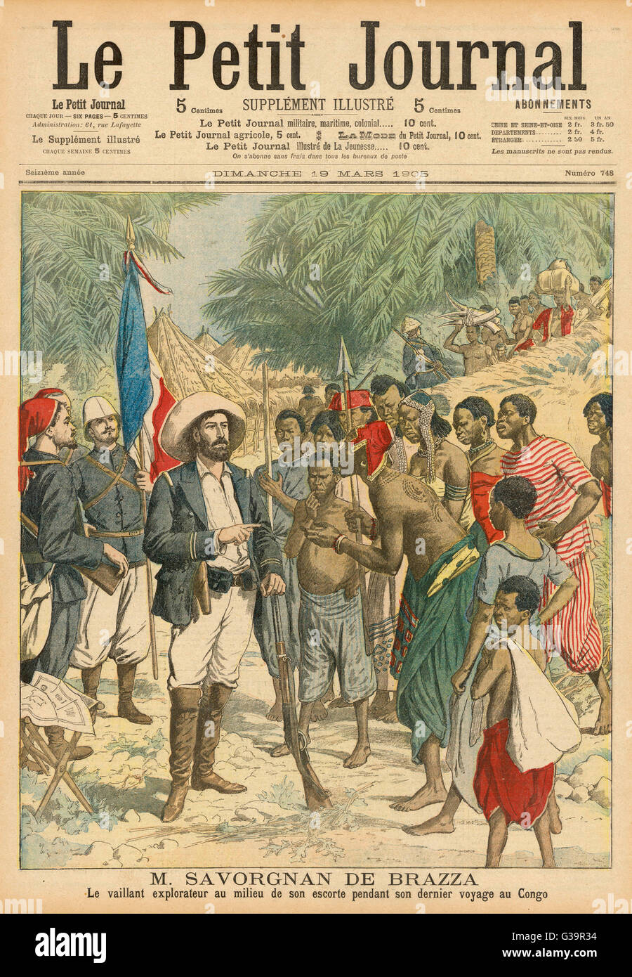 Brazza's explorations in equatorial Africa -  he establishes a French  presence in the Congo.      Date: 1875 - Stock Image