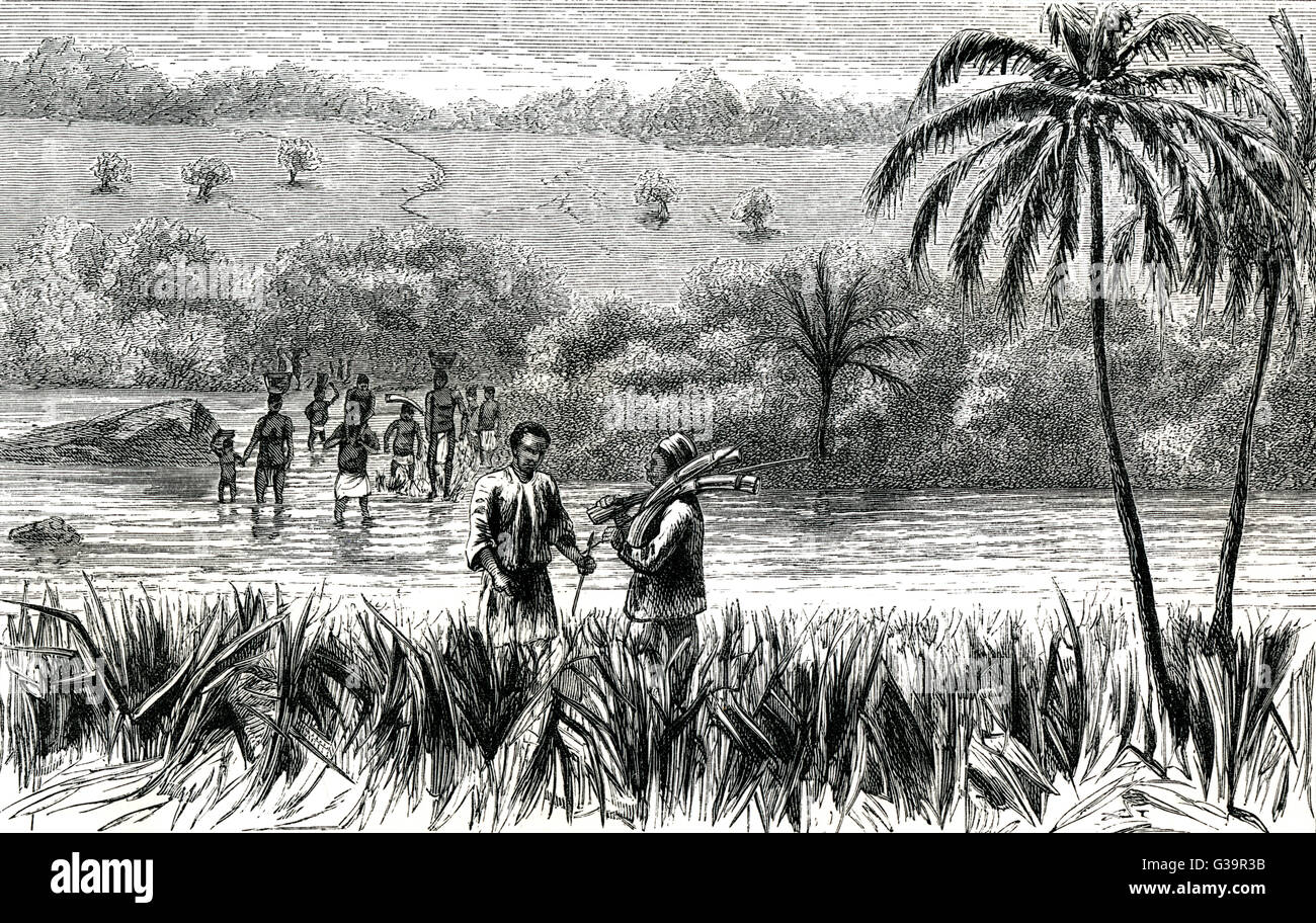 Cameron Verney Lovett; he  crossed Africa from east to  west.  In this engraving, he  crosses the Luwati River. - Stock Image