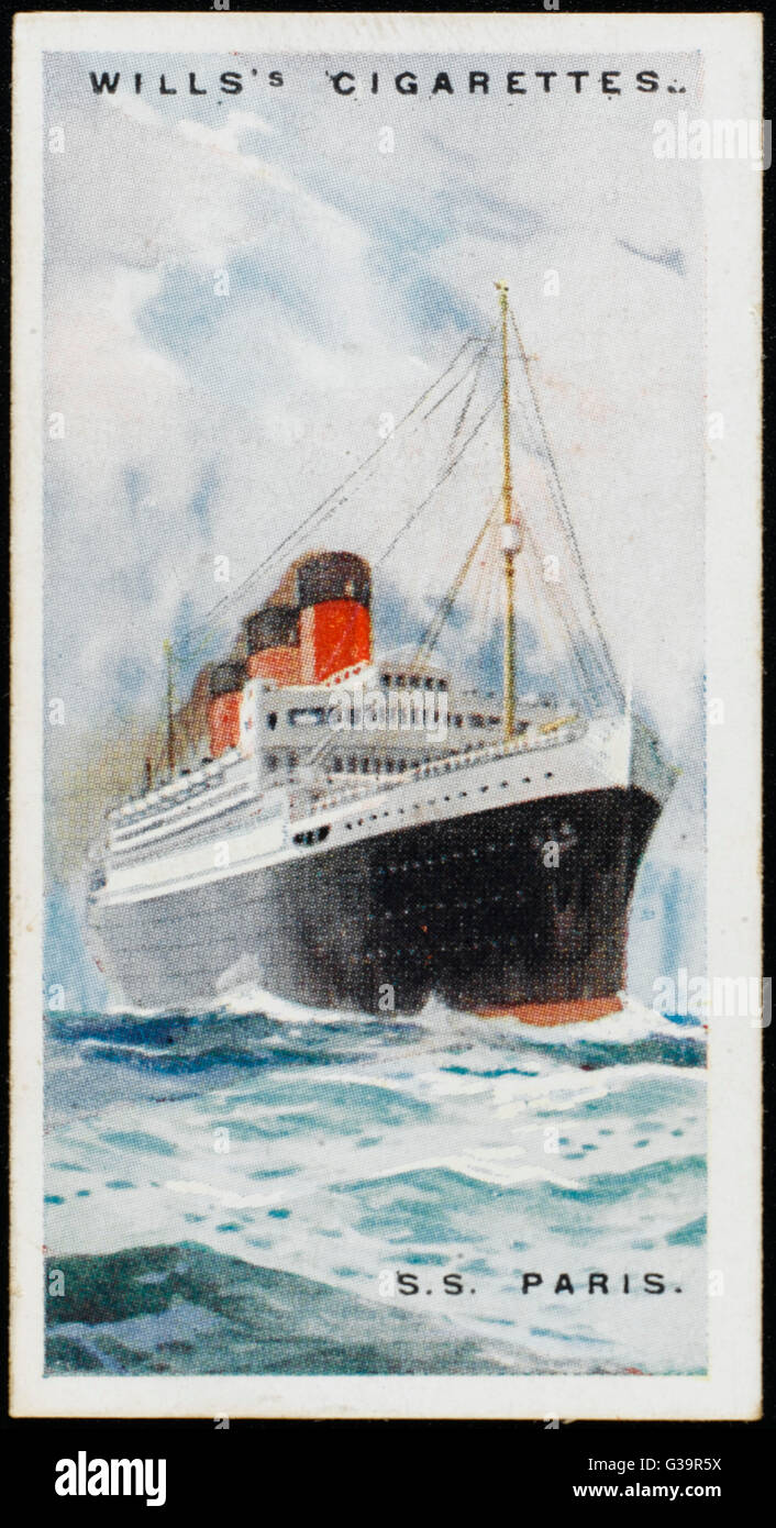 The largest French atlantic  liner of her day, carrying 563  first class passengers, 480  second and 1092 third - Stock Image