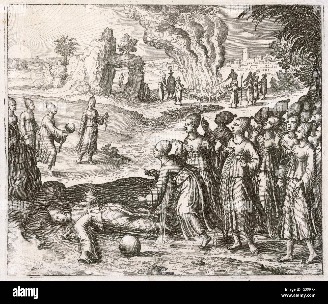 During Cavendish's round the  world voyage, he visits one  country where women kill  themselves when their king - Stock Image