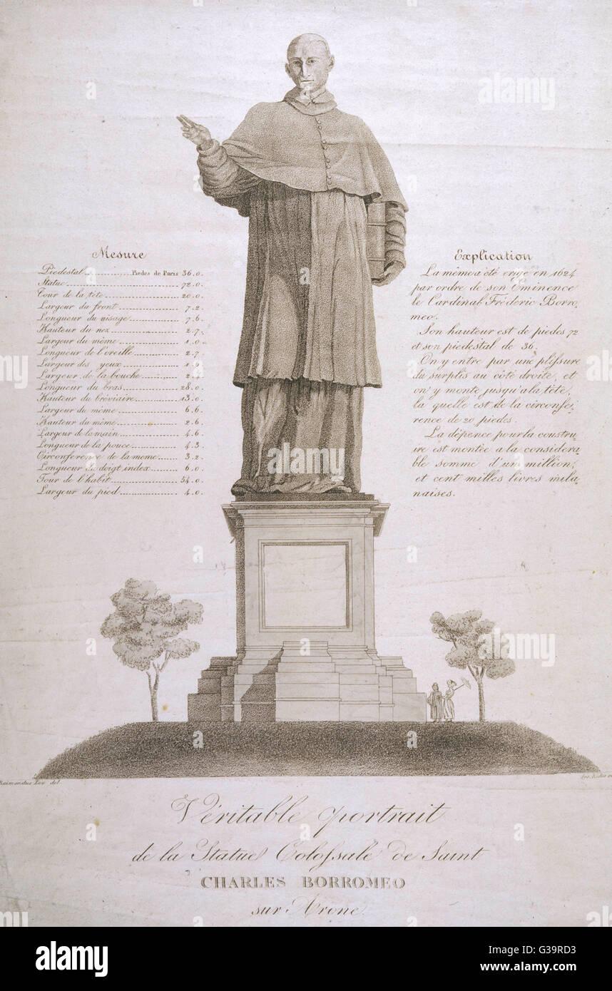 CARLO BORROMEO  Colossal statue to the  Italian cardinal and  saint, near Lago Maggiore      Date: 1538 - 1584 - Stock Image