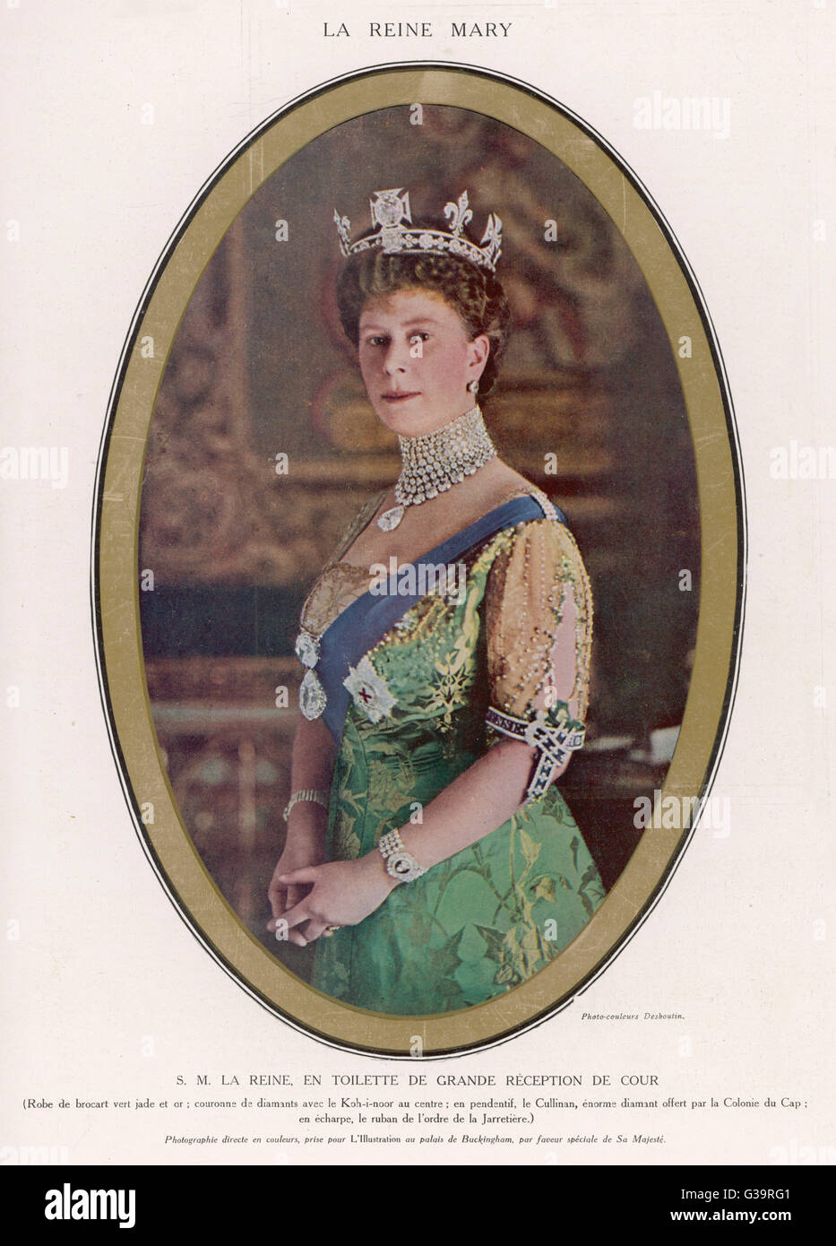 QUEEN MARY (1867 - 1953) Wearing a crown with the Koh-i-Noor diamond set in  the centre - Stock Image
