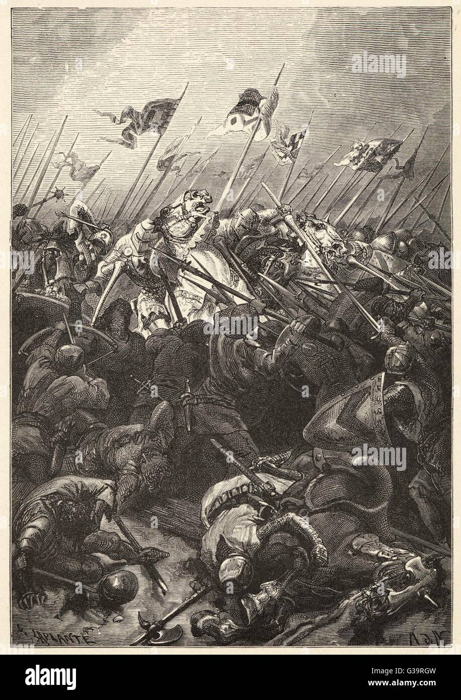 The Flemish defeat Robert  d'Artois at Courtrai - known  as the Battle of the Spurs.        Date: 11th July - Stock Image