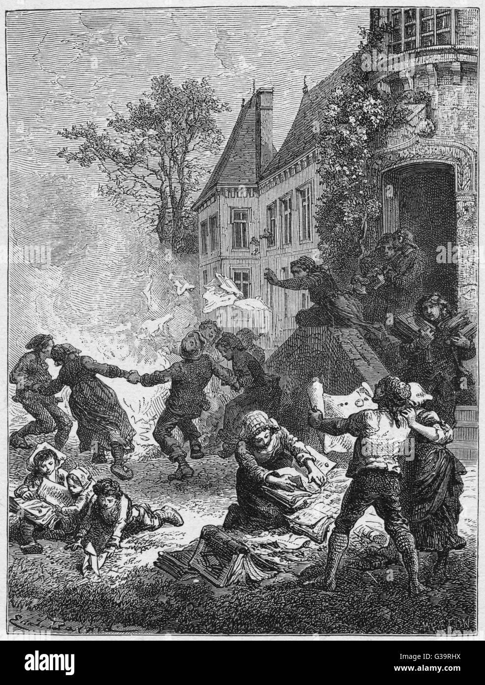 Peasants destroy feudal title  deeds.         Date: August 1789 - Stock Image