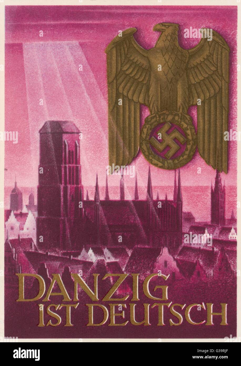 Nazi postcard claiming that  Danzig belongs to Germany and  not to Poland.       Date: 1939 Stock Photo