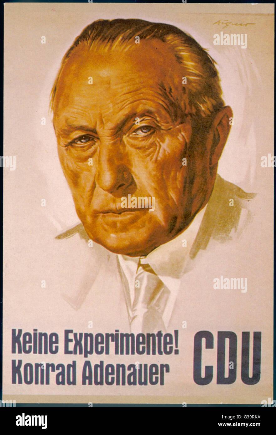 Campaign poster for poster German statesman, Konrad Adenauer and his Christian Democratic Union (CDU Christlich - Stock Image