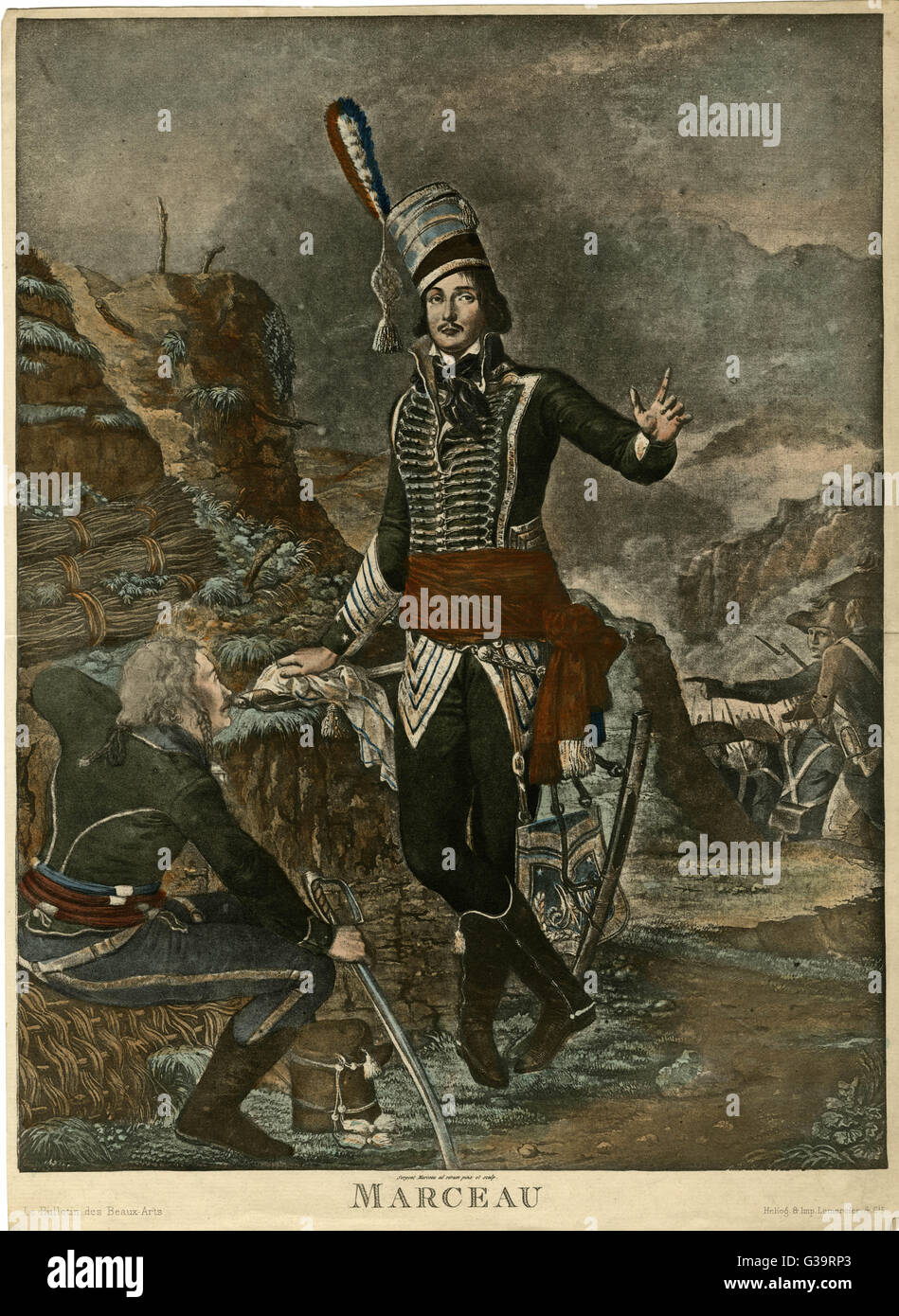 F S MARCEAU-DESGRAVIERS  French military,  with colleagues       Date: 1769 - 1796 - Stock Image
