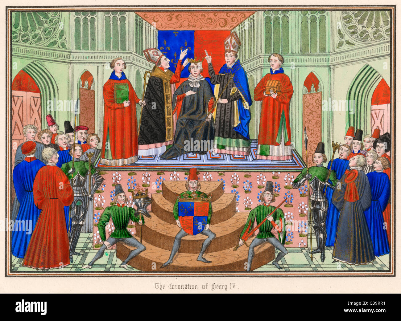 HENRY IV crowned at Westminster         Date: 13 October 1399 - Stock Image