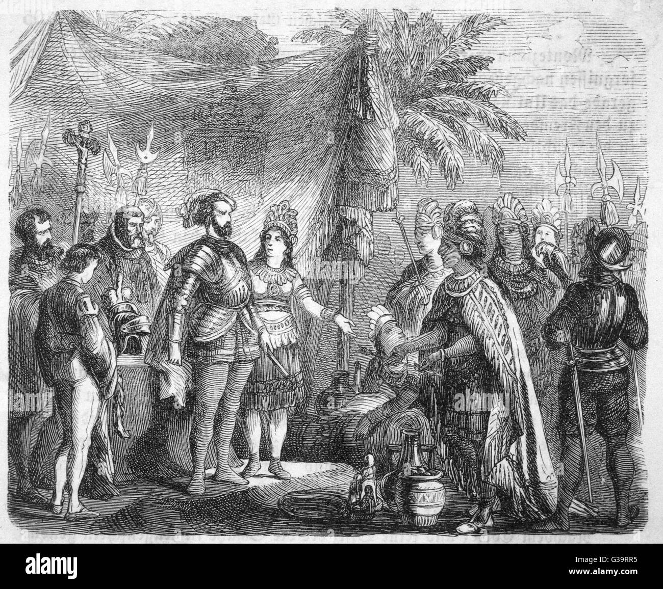 Cortes, accompanied by his  interpreter Dona Marina, receives  the Mexican embassy.        Date: 1519 - Stock Image