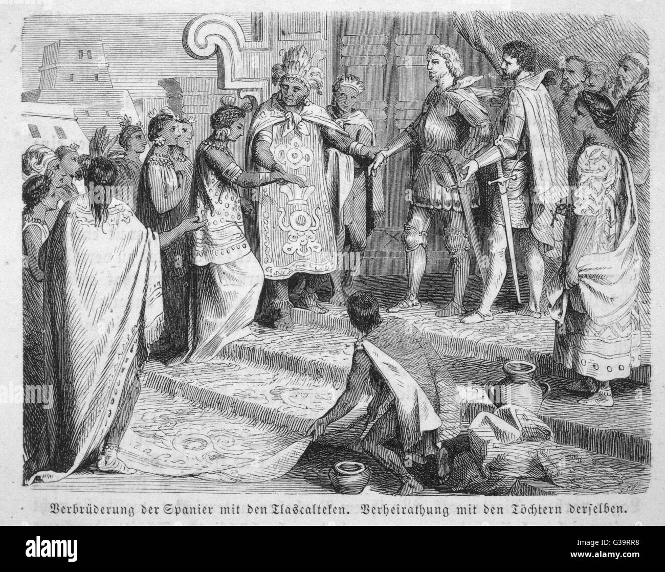 Cortes makes an alliance with  the Tlaxcalans (enemies of the  Aztecs) and betrothes some of  his men to Tlaxcalan - Stock Image