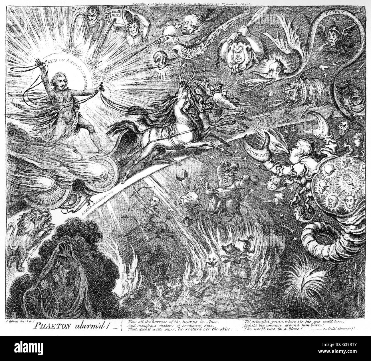'Phaeton alarm'd'  George Canning defies his  enemies       Date: 1808 - Stock Image