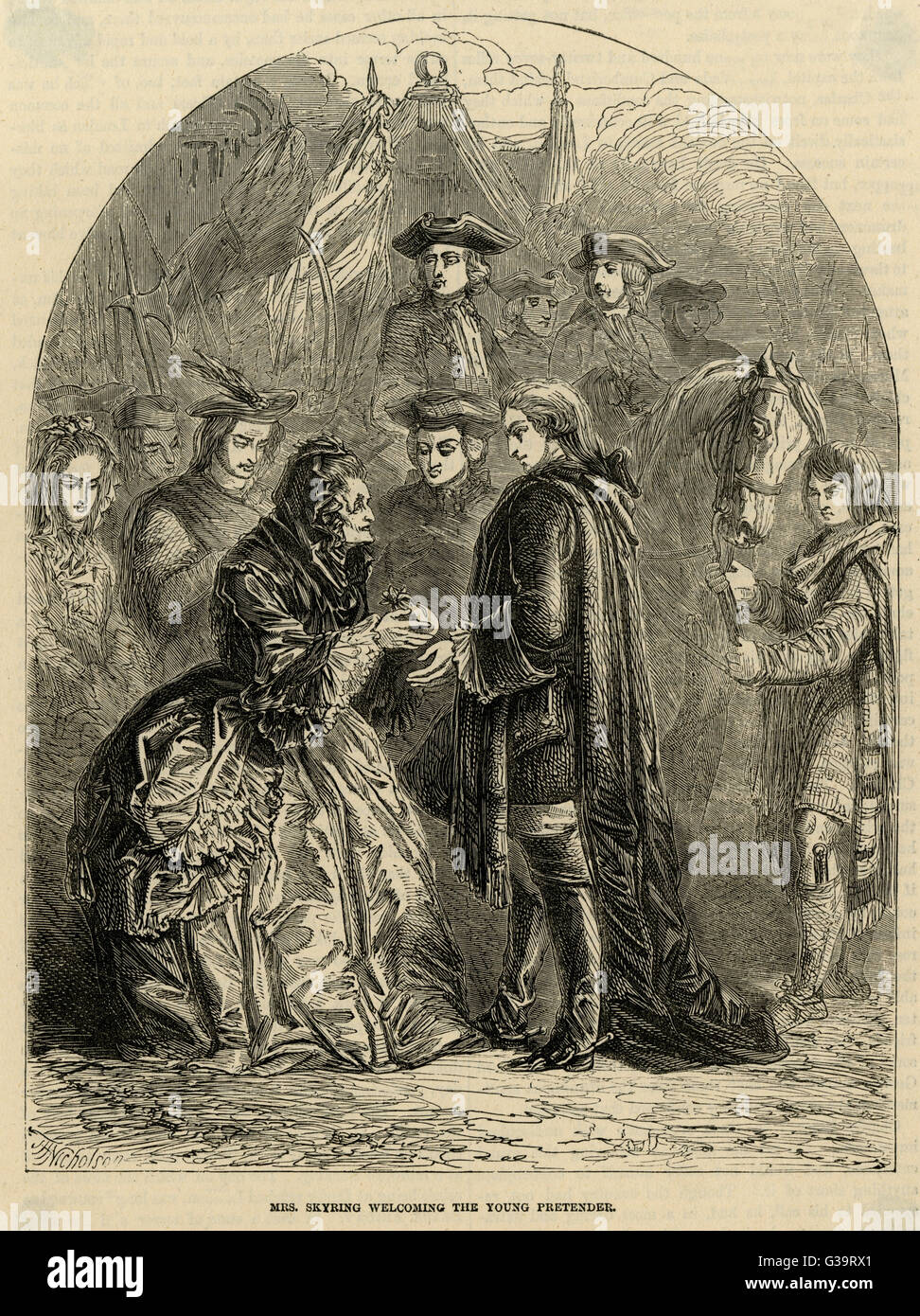 Mrs Skyring welcomes the Young  Pretender, Charles Stuart.         Date: 1745 - Stock Image