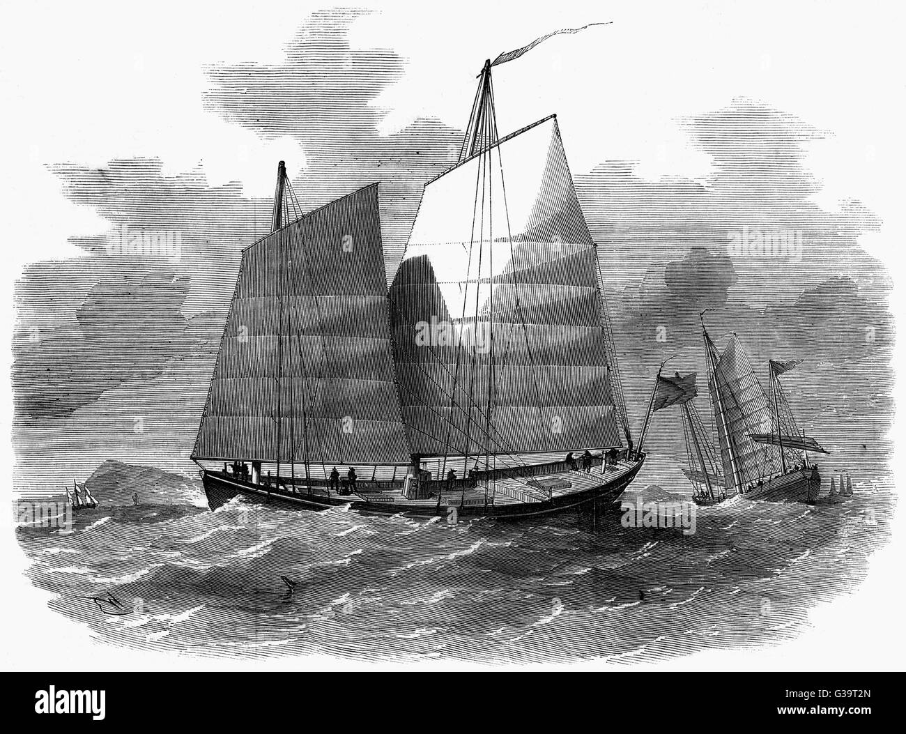 A Chinese merchant's 'Lorchas'  ship employed in the Canton River.         Date: 1857 - Stock Image