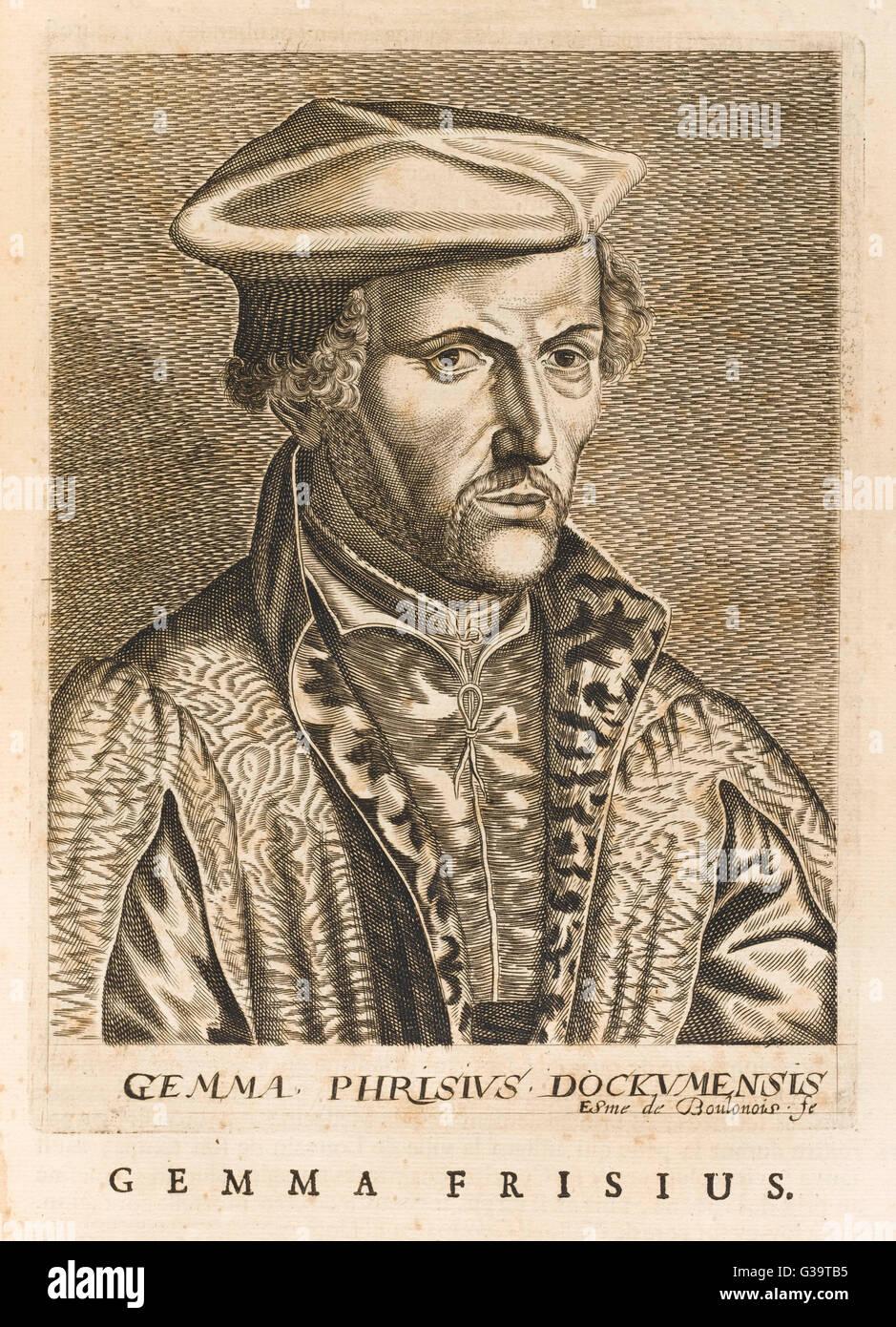 REINIER GEMMA alias FRISIUS  Dutch mathematician and medical      Date: 1508 - 1555 - Stock Image
