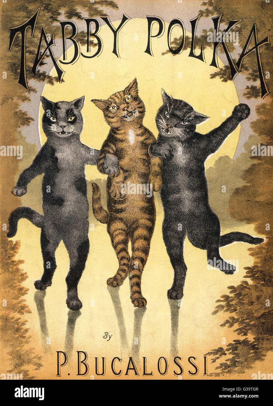 TABBY POLKA  A trio of cats with arms  linked dance a polka by  moonlight.      Date: 1890s - Stock Image