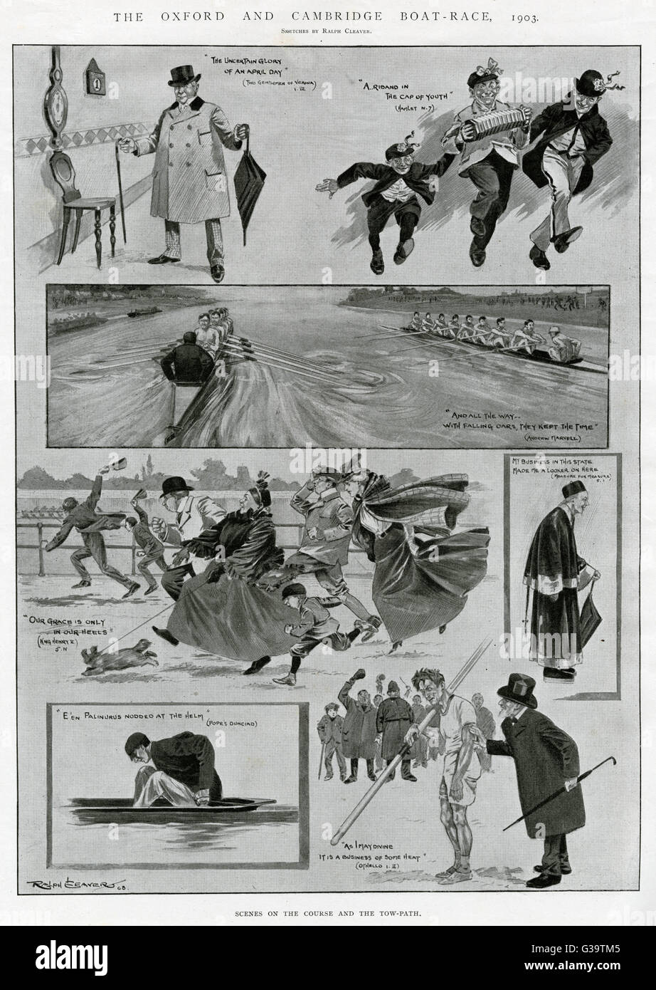 Scenes at the boat race:  competitors and spectators.        Date: 1903 - Stock Image