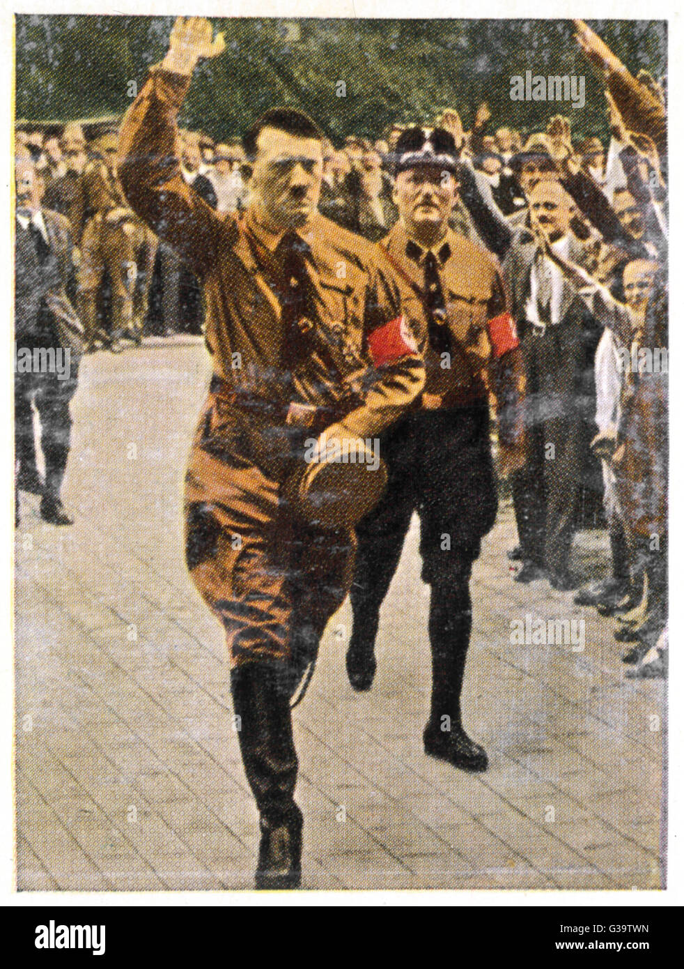 ADOLF HITLER  Saluting the crowds  at Nuremberg in 1929       Date: 1889 - 1945 - Stock Image