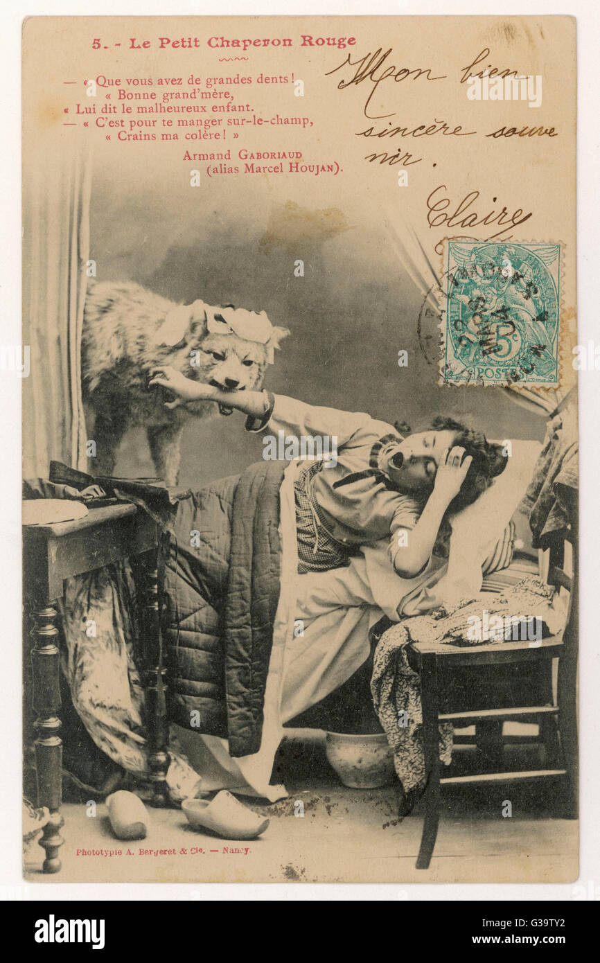 The wolf eats her - a photographic reconstruction          Date: 1904 - Stock Image