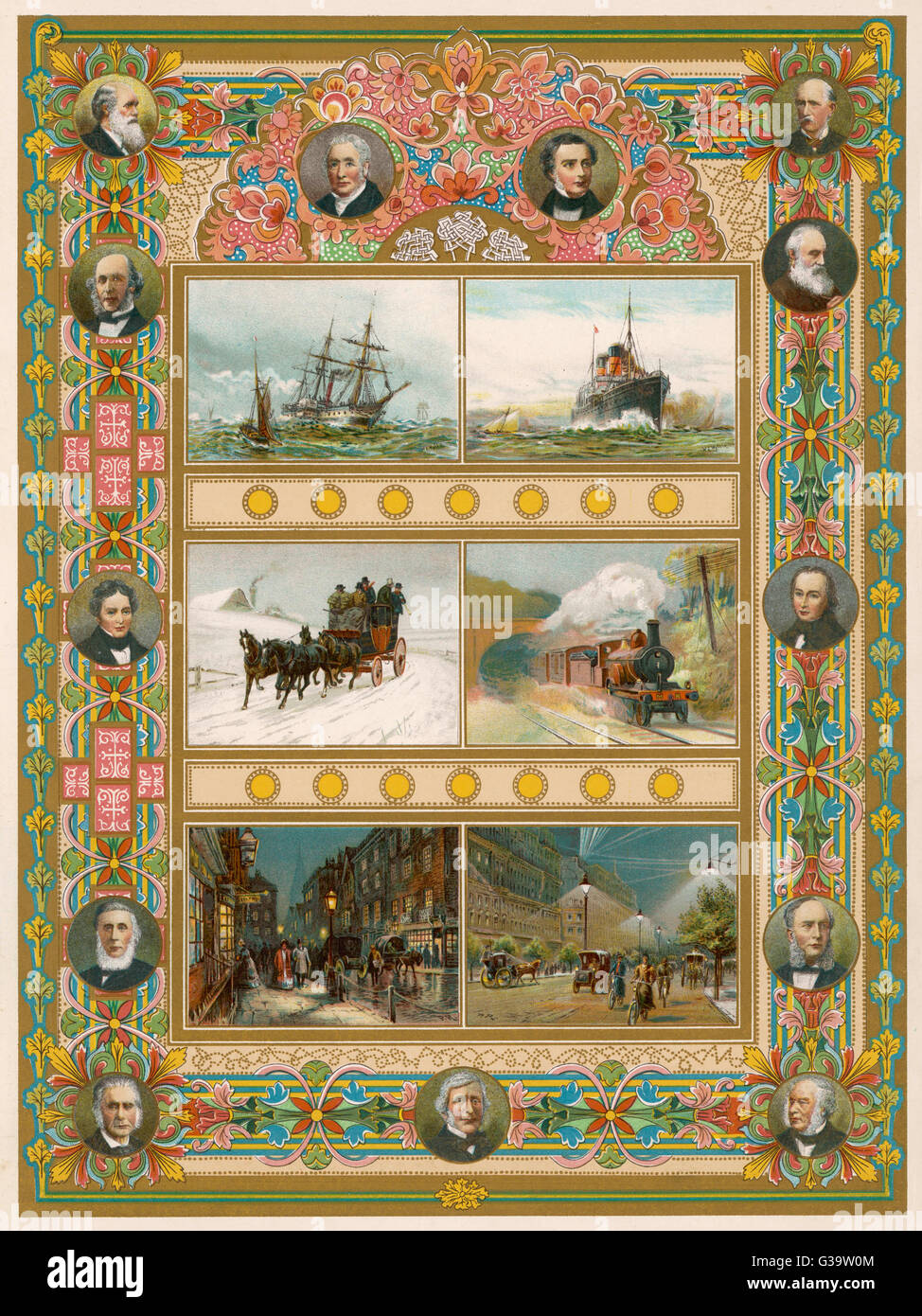 Six scenes illustrating  technological progress  during Queen Victoria's reign,  including a steamship, a  train, - Stock Image