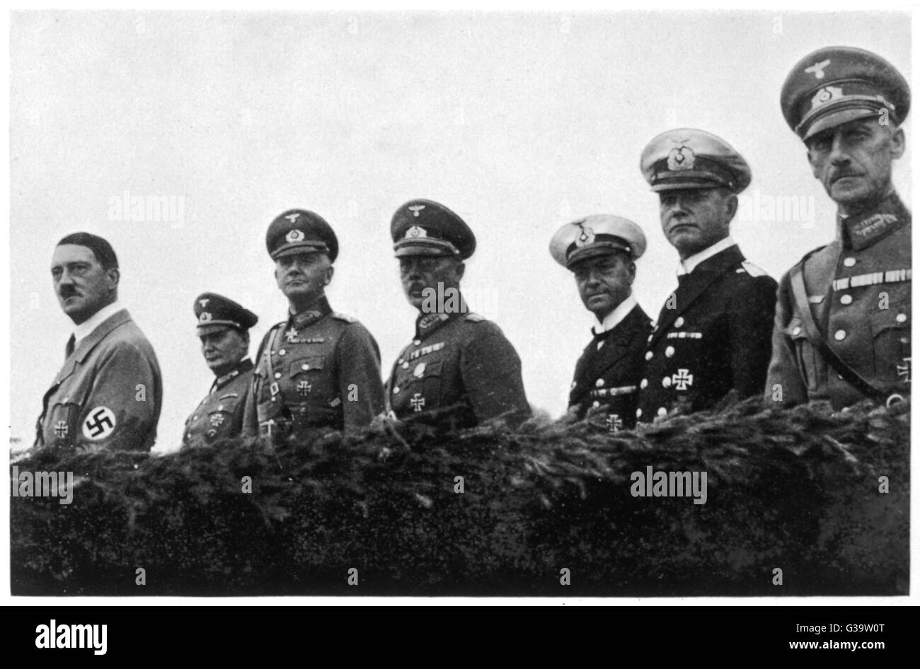 ADOLF HITLER  With Wehrmacht officers on Tage der Wehrmacht, 1935       Date: 1935 - Stock Image